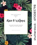 tropical wedding invitation... | Shutterstock . vector #693085798