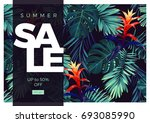 floral sale design with... | Shutterstock . vector #693085990