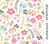 beautiful floral seamless... | Shutterstock .eps vector #693091528