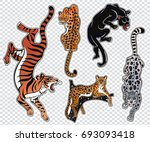 set of wild cat designs.... | Shutterstock .eps vector #693093418
