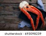 Fresh Crab Claws On Black Tray...