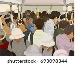 illustration of crowded... | Shutterstock .eps vector #693098344