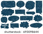 speech bubble doodles set.... | Shutterstock .eps vector #693098644