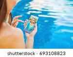friends talking on video call | Shutterstock . vector #693108823
