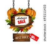 autumn sale wooden signboard   Shutterstock .eps vector #693111433