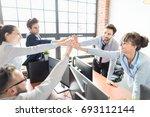 business people happy showing... | Shutterstock . vector #693112144