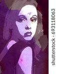 purple watercolor or ink  ... | Shutterstock . vector #693118063