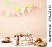 birthday dinner on white table... | Shutterstock . vector #693128680