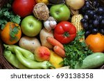 top view of fruits and... | Shutterstock . vector #693138358