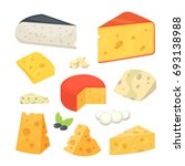 cheese types. modern flat style ... | Shutterstock . vector #693138988