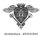 ornate mystic key hole inside... | Shutterstock .eps vector #693141964
