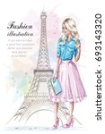 beautiful blonde hair girl with ... | Shutterstock .eps vector #693143320