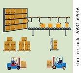 robot working with conveyor... | Shutterstock .eps vector #693150946