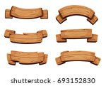 cartoon brown wooden plate and... | Shutterstock . vector #693152830