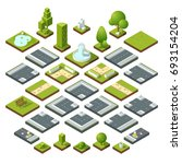 set of isometric city elements ... | Shutterstock . vector #693154204
