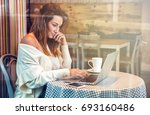 young business woman working... | Shutterstock . vector #693160486