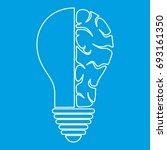 brain lamp icon blue outline... | Shutterstock .eps vector #693161350