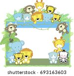 Stock vector cute baby animals jungle plants and bamboo frame children s design 693163603
