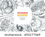 vietnamese food top view frame. ... | Shutterstock .eps vector #693177469