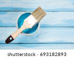 brush and paint on wooden... | Shutterstock . vector #693182893