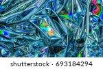 holographic color wrinkled foil....   Shutterstock . vector #693184294