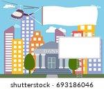 advertising banner near the... | Shutterstock .eps vector #693186046