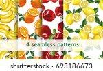 vector seamless fruit pattern... | Shutterstock .eps vector #693186673