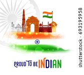 happy independence day india... | Shutterstock .eps vector #693195958