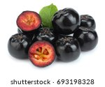 Small photo of Chokeberry with leaf isolated on white background. Black aronia.