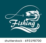 fishing emblem with catfish ... | Shutterstock .eps vector #693198700