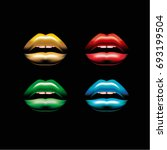 colorful lips. sensual lips.    Shutterstock .eps vector #693199504