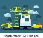 flat design of website under... | Shutterstock . vector #693205126