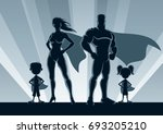 superhero family posing in... | Shutterstock .eps vector #693205210