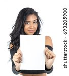 young woman is showing white... | Shutterstock . vector #693205900
