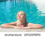 in a pool sexy thing  | Shutterstock . vector #693209890
