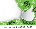 thumbs up ripped paper with... | Shutterstock .eps vector #693213658