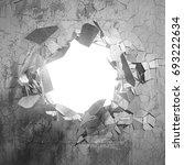 cracked big hole in broken... | Shutterstock . vector #693222634