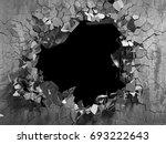 dark cracked broken wall in... | Shutterstock . vector #693222643