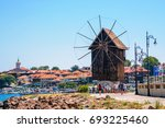 panorama of nesebar windmill... | Shutterstock . vector #693225460