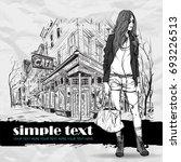 pretty stylish girl on a street ... | Shutterstock .eps vector #693226513