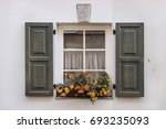 Old Town Window With Green...