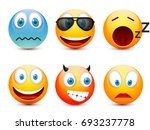 smiley with blue eyes emoticon... | Shutterstock .eps vector #693237778