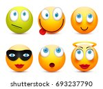 smiley with blue eyes emoticon... | Shutterstock .eps vector #693237790
