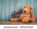 retro teddy bear toy and old... | Shutterstock . vector #693249184