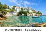 Skiathos old port with a blue sky