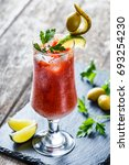 bloody mary cocktails with... | Shutterstock . vector #693254230