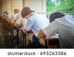asian school students in... | Shutterstock . vector #693263386