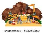 scene with tractors working at... | Shutterstock .eps vector #693269350