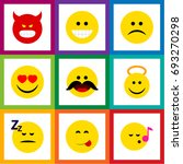 flat icon emoji set of sad ... | Shutterstock .eps vector #693270298