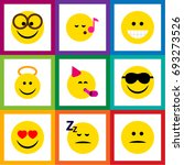 flat icon face set of angel ... | Shutterstock .eps vector #693273526